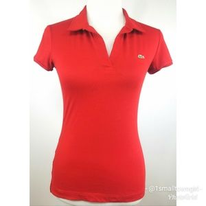 Lacoste red fitted polo top S
